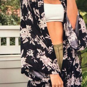 Spiritual Gangster Maya Kimono Black Floral NWT